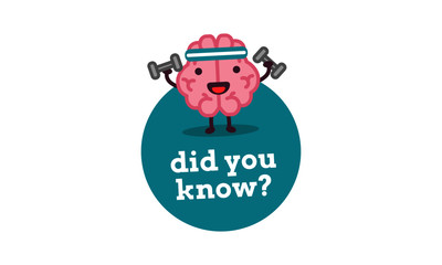 Did You Know with Brain Cartoon Vector Illustration