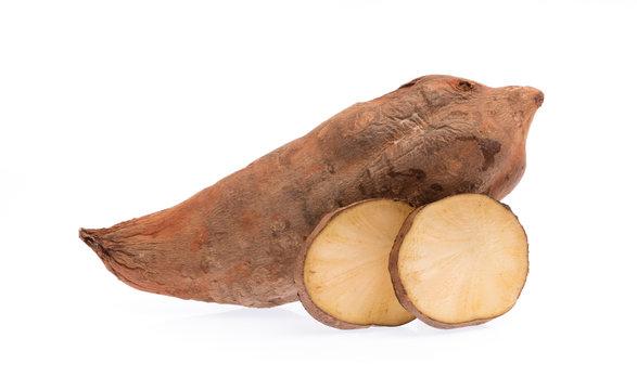 slice of fresh yam potato isolated on white background