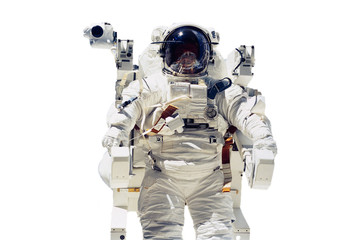 isolated astronaut flying in space. Elements of this image furnished by NASA f