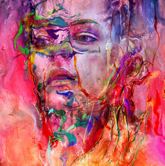 Emotional face portrait with watercolors and beauty