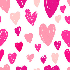 Abstract seamless pattern of pink hearts on white background.