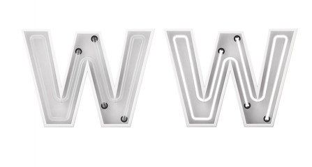 White neon style light letter W. On and Off neon lettering. 3D rendering