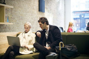 Business colleagues in a company reception area