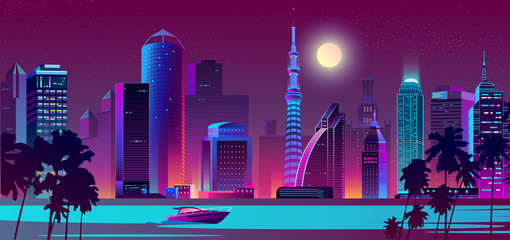 Vector background with night city in neon, ultraviolet colors with ship on water. Bright river with boat and full moon over buildings. Skyscrapers with palms, urban concept. Modern megapolis backdrop.