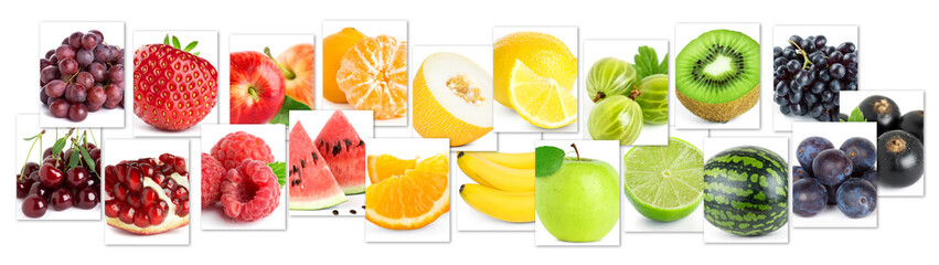 Collage of color fruits. Fresh ripe food