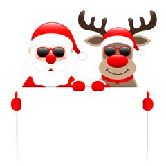 Santa & Rudolph Sunglasses Holding Label