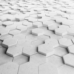 Abstract hexagonal background. Grunge Polygonal Hex geometry white surface . Futuristic technology texture concept. 3d Rendering..