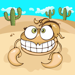 Scorpion hand drawing, cartoon character, vector illustration, caricature, card. Colorful painted cute funny comical scorpio smiles and crawling in the sandy desert with cacti against the blue sky