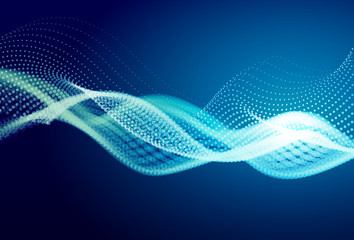Poster Abstract wave Abstract blue digital landscape with flowing particles. Cyber or technology background.