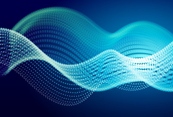 Abstract blue digital landscape with flowing particles. Cyber or technology background.
