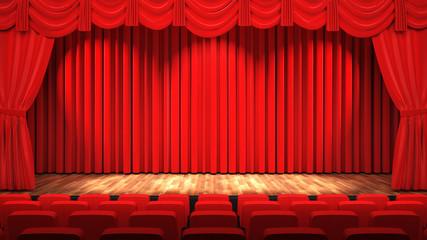 Leere Theater Bühne mit rotem Vorhang und Sitzreihen, 3D Rendering