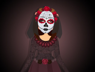 traditional Mexican woman in the dead day