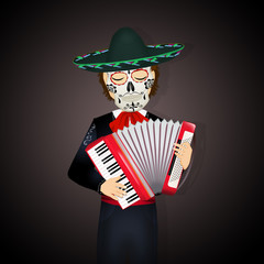 mariachi with accordion and dead mask