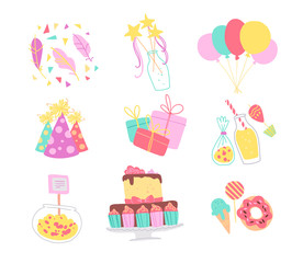 Vector collection of birthday party decor elements - confetti, hat, magic wand, bd cake, candy, balloons, gifts isolated. Flat cartoon style. Good for cards, invitations, patterns, tags, banners etc.