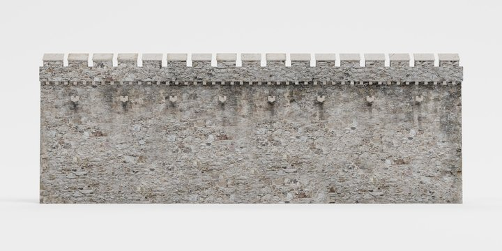 Realistic 3D Render of Medieval Wall