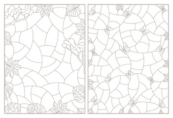 Set of contour illustrations of stained glass with abstract backgrounds, tropical plants and butterflies, dark contours on white background
