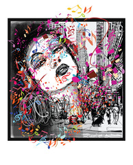 Poster de jardin Art Studio Woman listening to music in New York