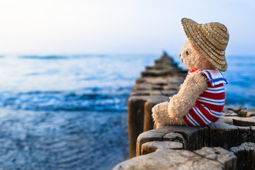 Nostalgic Holidays at the Sea / Teddy bear at summer vacation sit on row of wooden groynes, wear straw hat and striped sailor suit, take a look toward blue water horizon (copy space)