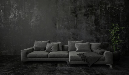 Generic leather couch of daybed in darkness