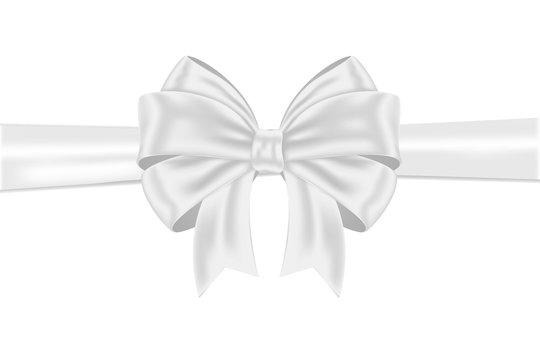 White ribbon bow wrapping