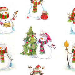 Seamless watercolor pattern with little bunny, bird, tree and snowman. Christmas child illustration. Happy new Year.