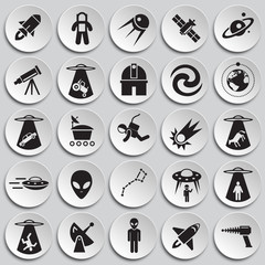 Space icons set on plates black background for graphic and web design, Modern simple vector sign. Internet concept. Trendy symbol for website design web button or mobile app