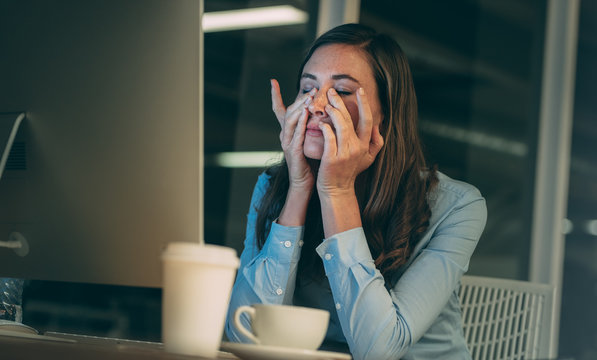 Businesswoman stressed out during work