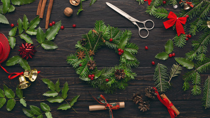Process of creating wreath with various decorations