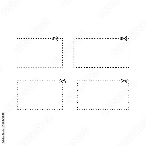 rectangle coupons dashed and dotted line templates coupon vector