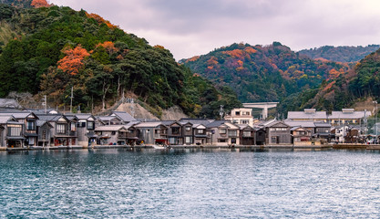 Scenic view of Ine-Cho and Funaya houses at Ine bay in Autumn , Kyoto, Japan