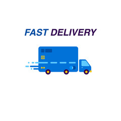 Fast delivery Credit card Logo and Icon. Vector Illustration.