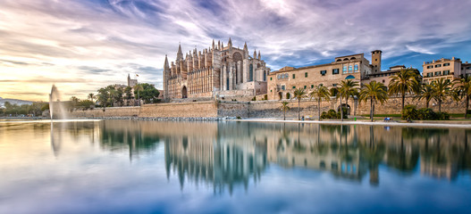The Cathedral La Seu at Sunset in Palma de Mallorca