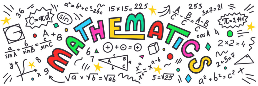 Mathematics. Maths doodles with colorful lettering on white background.