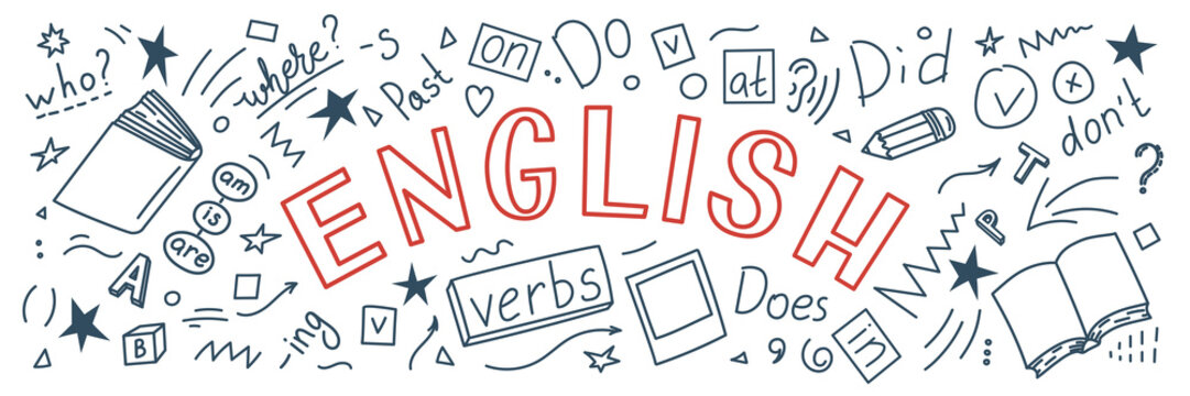 English. Language hand drawn doodles and lettering on white background. Education banner. Vector illustration.