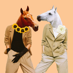 Minimal Contemporary collage art. Stylish horses. Vintage concept