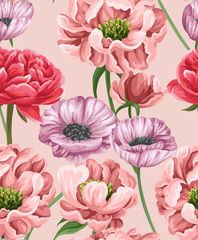 Floral seamless pattern with watercolor stylized flowers