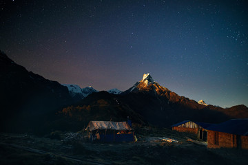 Himalayas at night sky with stars