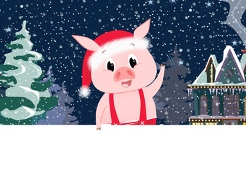 Cute piglet with village scene in background and copyspace. Christmas greeting card. For leaflets, brochures, invitations, posters or banners.