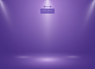 Abstract of ultra violet color in studio room background with sportlights.