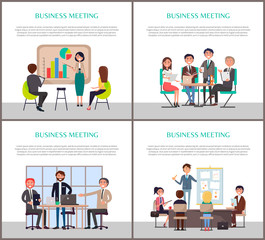 Business Meeting of Office Workers Staff Poster