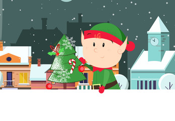 Elf holding fir-tree with city scene in background and copyspace. Christmas greeting card. For leaflets, brochures, invitations, posters or banners.