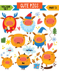 Cartoon cute pigs in different poses. Part 3. Vector set for winter decoration, web, card, poster or t-shirt.