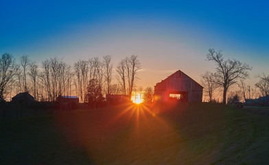 Sunset with Old Barn