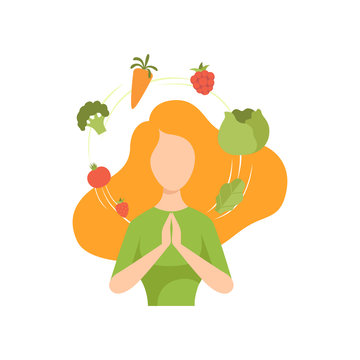 Young woman surrounded by vegetables and fruits flying around her, healthy eating, diet, organic vegan food vector Illustration