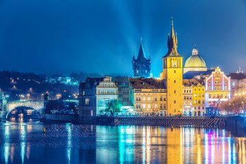 Scenic view over Old town in Prague, Czech republic, at nighttime. Beautiful travel background.