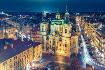 Aerial view on Old town in Prague, Czech republic, at night. Colourful skyline.