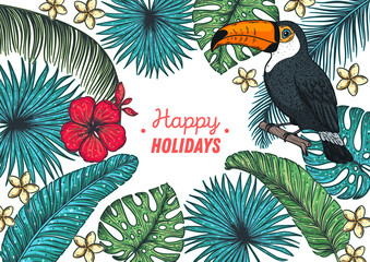 Tropical design template. Hello summer frame. Toucan, palm leaves and flowers vector illustration. Summer design.
