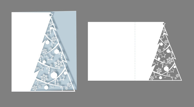 Layout laser cut for christmas cards Openwork Christmas spruce tree cut out of paper for invitations greetings cards for the New Year Christmas Layout vector for laser cutting plotter cutting printing