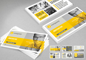 Gray Business Card Layout with Yellow Accents