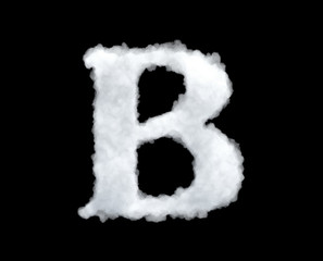 3d rendering of a letter-B-shaped cloud isolated on black background.